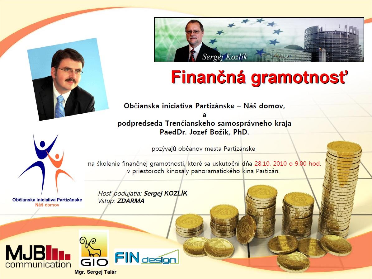 Pozvánka - Finančná gramotnosť